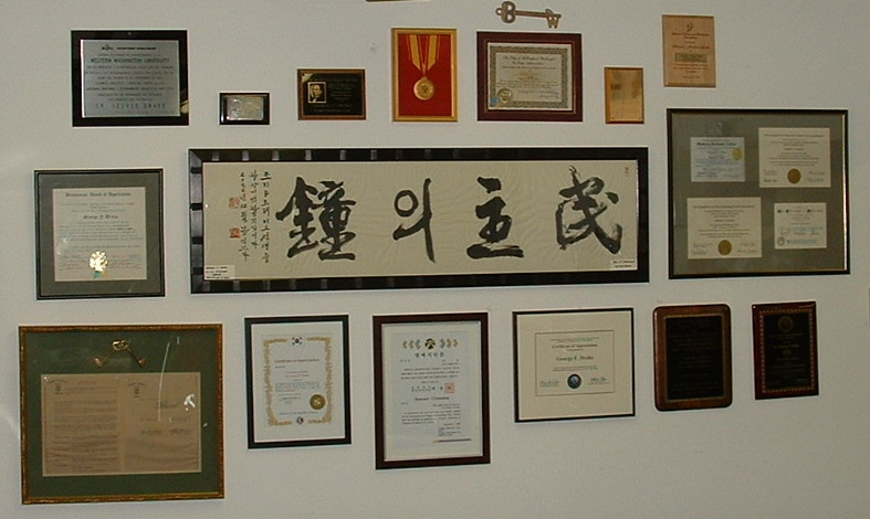 Picture of George's award wall
